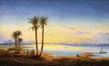 Fine Art - Painting, European:Antique  (Pre 1900), HERMANN DAVID SALOMON CORRODI (Italian, 1844-1905). Sunrise onthe Nile. Oil on canvas. 25-1/4 x 41-1/2 inches (64.1 x 1...