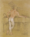 Fine Art - Painting, American:Contemporary   (1950 to present)  , PAUL CADMUS (American, 1904-1999). The Rehearsal. Sepiawatercolor with gray highlight on hand-toned paper. 22 x 18 inch...