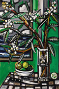 Fine Art - Painting, American:Contemporary   (1950 to present)  , DAVID BATES (American, b. 1952). Oleander - Galveston, 1996.Oil on board. 48 x 32 inches (121.9 x 81.3 cm). Signed lowe...