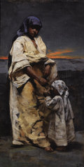 Fine Art - Painting, American:Antique  (Pre 1900), CHARLES SPRAGUE PEARCE (American, 1851-1914). Mother and Child,Evening Desert. Oil on canvas laid on board. 16 x 8 inch...