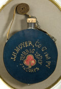"""Military & Patriotic:Civil War, Striking, Historic Drum Canteen with Embroidered Wool Cover. This exceptional example of a tin militia style """"drum"""" canteen ..."""