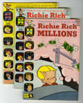 Silver Age (1956-1969):Humor, Richie Rich Millions File Copies Box Lot (Harvey, 1963-82) Condition: Average NM-.... (Total: 100 Comic Books)