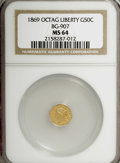 California Fractional Gold: , 1869 50C Liberty Octagonal 50 Cents, BG-907, Low R5, MS64 NGC. NGCCensus: (2/1). PCGS Population (8/19). (#10765)...
