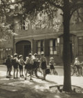 Photography :20th Century , MARGARET BOURKE-WHITE (American, 1904-1971). European School Boys with Bicycles and Scooter, 1953. Toned silver gelatin,...