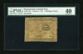 Colonial Notes:Pennsylvania, Pennsylvania October 1, 1773 2s/6d PMG Extremely Fine 40....