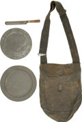 Military & Patriotic:Civil War, Classic Soldier's Haversack with Original Mess Plates and Knife. ... (Total: 4 Items)