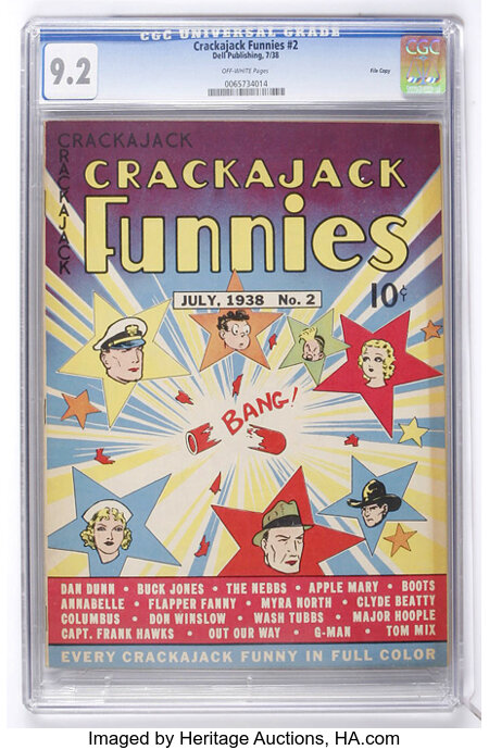 Crackajack Funnies #2 File Copy (Dell, 1938) CGC NM- 9.2 Off-white pages....