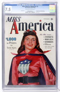 Golden Age (1938-1955):Superhero, Miss America Magazine #2 (Timely, 1944) CGC VF- 7.5 Off-white to white pages....