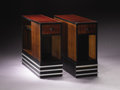 Furniture : American, PAUL T. FRANKL (American, 1887-1958). A Pair of Rosewood, Ebonized Wood, and Aluminum End Tables, probably manufactured by F... (Total: 2 Items)