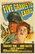 """Movie Posters:War, Five Graves to Cairo (Paramount, 1943). One Sheet (27"""" X 41"""")...."""