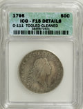 Early Half Dollars, 1795 50C 3 Leaves--Cleaned, Tooled--ICG. Fine 15 Details. O-111,High R.4. Mintage: 299,680. (#6053)...