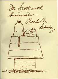 Charles Schulz The Peanuts Gang Leather Bound Book with Added Sketch (Hodder and Stroughton, 1979)
