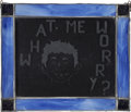 "Memorabilia:MAD, Pre-Mad Alfred E. Neuman ""What Me Worry?"" Leaded EtchedGlass Panel (circa 1940s)...."
