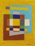 Works on Paper, EMIL JAMES BISTTRAM (American, 1895-1976). Abstract, 1940. Encaustic on paper. 14 x 11 inches (35.6 x 27.9 cm). Signed a...
