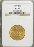 Liberty Eagles: , 1890 $10 MS60 NGC. NGC Census: (63/161). PCGS Population (27/146). Mintage: 57,900. Numismedia Wsl. Price for NGC/PCGS coin...
