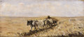 Fine Art - Painting, European:Antique  (Pre 1900), NICOLAE GRIGORESCU (Romanian, 1838-1907). Landscape With Ox-Drawn Wagon. Oil on canvas. 10-1/2 x 23-1/2 inches (26.7 x 5...
