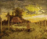EANGER IRVING COUSE (American, 1866-1936) Sheep at Santa Cruz Oil on canvas 24 x 29 inches (61.0