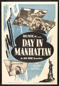 """Movie Posters:Documentary, Day in Manhattan (RKO, 1950). One Sheet (27"""" X 41""""). Documentary. Narrated by Andre Baruch. Produced by Burton Benjamin...."""