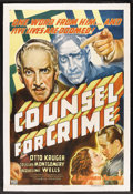 "Movie Posters:Crime, Counsel For Crime (Columbia, 1937). One Sheet (27"" X 41"") Style B.Crime. Starring Otto Kruger, Douglass Montgomery, Jacquel..."