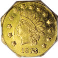 California Fractional Gold: , 1873/2 $1 Indian Octagonal 1 Dollar, BG-1121, Low R.7, MS63 PCGS. Aprooflike medal-turn octagonal dollar that benefits fro...