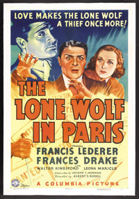 """The Lone Wolf in Paris (Columbia, 1938). One Sheet (27"""" X 41""""). Mystery. Starring Francis Lederer, Frances Dra..."""