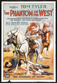 """The Phantom of the West (Mascot, 1931). One Sheet (27"""" X 41""""). Serial. Chapter Two -- """"Stairway to Doom.&..."""