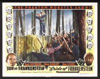 "Son of Frankenstein/Bride of Frankenstein Combo (Realart, R-1949). Lobby Card (11"" X 14""). Horror. Starring Bo..."