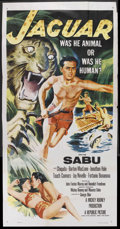 "Movie Posters:Adventure, Jaguar (Republic, 1955). Three Sheet (41"" X 81""). Adventure.Starring Sabu, Chiquita, Barton MacLane, Jonathan Hale, Touch (..."
