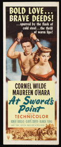 "Movie Posters:Adventure, At Sword's Point (RKO, 1952). Insert (14"" X 36""). Adventure.Starring Cornel Wilde, Maureen O'Hara, Robert Douglas, Gladys C..."