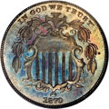 Patterns: , 1870 5C Five Cents, Judd-805, Pollock-893, High R.7, PR64 Brown NGC. A regular dies trial piece, struck in copper with a pl...