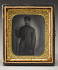 Military & Patriotic:Civil War, 1/6th Plate Tintype of an Identified 79th Pennsylvania Soldier Killed at Murfreesboro. A slightly dark but clear hand-tinted...