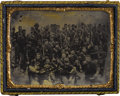 Military & Patriotic:Civil War, 1/4th Plate Tintype Image of a Large Group of Union Soldiers Taken Before the Battle at Chickamauga of about 50 armed Union ...