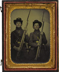 Military & Patriotic:Civil War, Union Infantry Soldiers With Muskets 1/4th Plate Tintype. An exceptional hand-tinted image of two seated Union soldiers with...