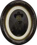 """Military & Patriotic:Civil War, Full Plate Hand-tinted Tintype of Civil War Soldier, 6.25"""" x 8.25"""" oval image, framed. This is a very interesting image. The..."""