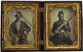 Military & Patriotic:Civil War, Union Soldier with Rifle Musket 1/4th Plate Tintype and Same Soldier In Civilian Clothes Converted from his Uniform 1/4th Plat... (Total: 2 )