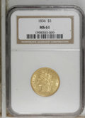 Classic Half Eagles: , 1836 $5 MS61 NGC. NGC Census: (39/89). PCGS Population (18/67).Mintage: 553,147. Numismedia Wsl. Price for NGC/PCGS coin i...