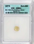 California Fractional Gold: , 1873 25C Liberty Octagonal 25 Cents, BG-728, R.3, MS61 ICG. PCGSPopulation (4/153). (#10555)...