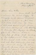 """Autographs:Celebrities, Harry Hawk Autograph Letter Signed, one and one-half pages, 5.5"""" x8.5"""", Philadelphia [Pa.], n.y., to """"Sir & Bro."""" (Al E..."""