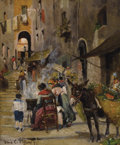 Fine Art - Painting, American:Antique  (Pre 1900), LOUIS COMFORT TIFFANY (American, 1848-1933). Market Scene,1873. Oil on canvas laid on board. 12 x 9-1/2 inches (30.5 x ...