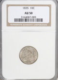 Bust Dimes: , 1835 10C AU50 NGC. NGC Census: (13/347). PCGS Population (38/244). Mintage: 1,410,000. Numismedia Wsl. Price for NGC/PCGS c...