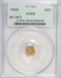 California Fractional Gold: , 1869 50C Liberty Octagonal 50 Cents, BG-907, Low R5, AU58 PCGS.PCGS Population (2/37). NGC Census: (0/4). (#10765)...