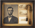 Political:Presidential Relics, A Drapery Cord Purportedly from Lincoln's Springfield Home. Mounted in a vintage frame along with two 19th century cabinet p...