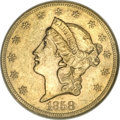 Liberty Double Eagles, 1858-S $20 AU58 NGC....