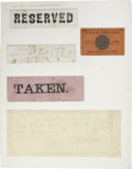 "Miscellaneous:Ephemera, [Lincoln's Assassination: Ford's Theatre] Printed Ticket and Three""RESERVED"" Notices, One of the Latter With Traces of Abraha..."