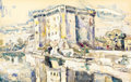 Fine Art - Work on Paper:Watercolor, PAUL SIGNAC (French, 1863-1935). Tarascon, 1946. Watercolor and crayon on paper laid on cardboard. 11 x 17 inches (27.9 ...