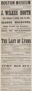 """Autographs:Celebrities, John Wilkes Booth Playbill. Broadside, 4.5"""" x 13"""", Boston, April28, 1864, for a performance of John Wilkes Booth in the..."""