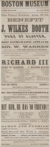 """Autographs:Celebrities, John Wilkes Booth Playbill. Broadside, 4.5"""" x 13"""", Boston, April29, 1864, for a performance of John Wilkes Booth as Duke of..."""
