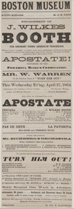 """Autographs:Celebrities, John Wilkes Booth Playbill. Broadside, 4.5"""" x 13"""", Boston, April27, 1864, for a performance of John Wilkes Booth as Pescara..."""