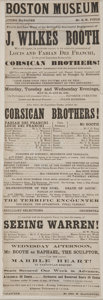 "Autographs:Celebrities, John Wilkes Booth Playbill. Broadside, 4.5"" x 13"", Boston, May23-25, 1864, for a performance of John Wilkes Booth in the du..."