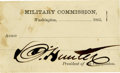 "Autographs:Celebrities, [Lincoln Assassination Trial] David Hunter Trial Pass Signed ""D.Hunter"". One page blank pass, Washington, 1865, 3.5"" x ..."